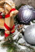 Christmas baubles on a tree — Стоковое фото