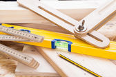 Carpenters level, ruler and right angle — Foto de Stock