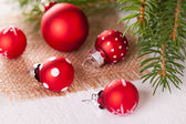 Pretty red polka dot Christmas bauble — Stock Photo