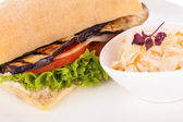 Delicious vegan vegetarian burger with grilled eggplant — Stock Photo