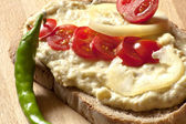 Eggplant salad with cherry tomatoes and pepper — Stock Photo