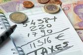 Agenda met fiscale en vreemde valuta — Stockfoto