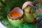 Egg with decorated yellow duck — Stock Photo