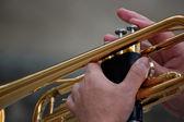 Hands holding golden trumpet — Stock Photo