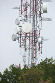 Media tower with different antennas — Stock Photo