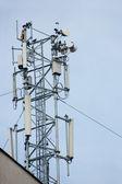 Multiple antenna grouped on rooftop — Stock Photo