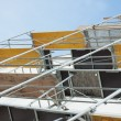 Side view building scaffolding out wood — Stock Photo #36950015