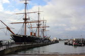 Hms warrior portsmouth naval dockyards — Stock Photo
