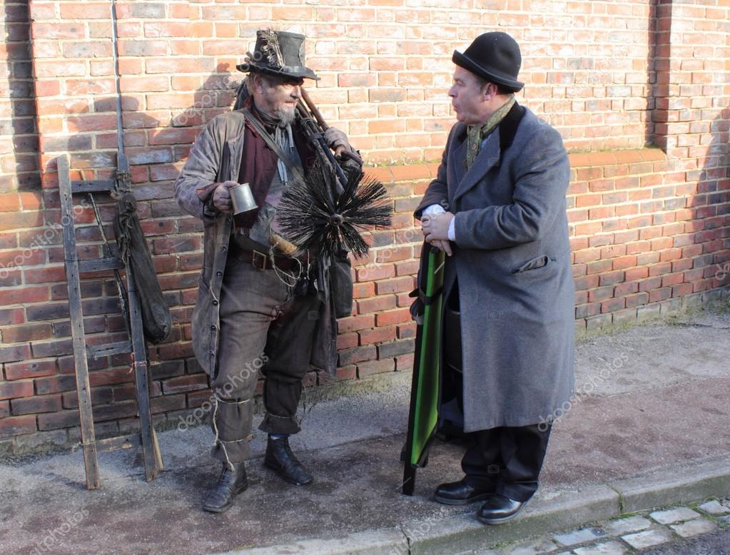 Victorian chimney sweep wearing his old clothes &amp; carrying his brush&#039;s  Stock Photo #16223195