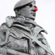 Red nose on a marine statue — Stock Photo