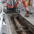 New plastic gas pipes being laid  — Stock Photo