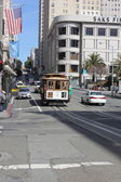 The famous cable cars of San Francisco, 2nd april 2013 — Foto Stock