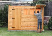 Building a wooden shed — Stock Photo