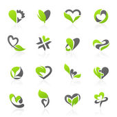 Eco-themed design elements. Vector logo template set. — Stock Vector