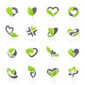 Eco-themed design elements. Vector logo template set. — Stock Vector