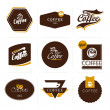 Collection of retro styled coffee labels, frames and badges. - Imagen vectorial