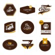 Stock Vector: Collection of retro styled coffee labels, frames and badges.