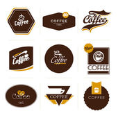 Collection of retro styled coffee labels, frames and badges. — Vettoriale Stock
