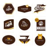 Samling av retro stil kaffe etiketter, ramar och emblem. — Stockvektor