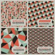 Set of retro-styled seamless patterns. Vector illustration. - Stok Vektr