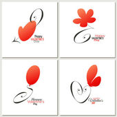 Stylish calligraphic Valentine's day greeting cards - vector — Stok Vektör
