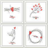 Valentines Day greeting cards - vector illustration — Stok Vektör