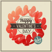 Retro Valentine's Day greeting card with red butterflies- vector illustration — Stock Vector