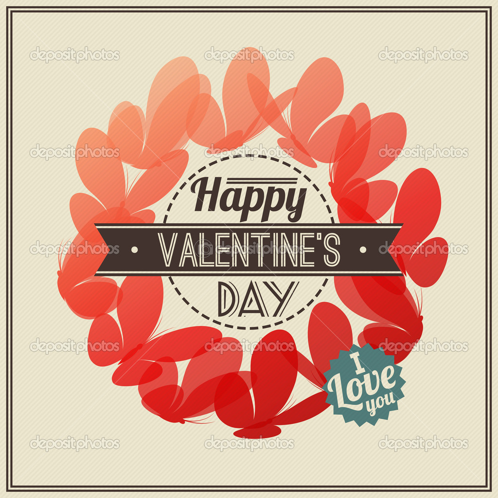 Retro Valentine's Day greeting card with red butterflies- vector illustration — Stock Vector #18695087