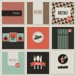 Wektor stockowy : Menu label on a seamless background. Set of retro-styled illustr