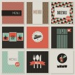 Menu label on seamless background. Set of retro-styled illustr — Vecteur #19721805