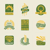 Wheat labels and badges. Set of logo templates. Elements for design. — Stock Vector