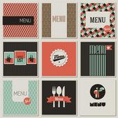 无缝背景上的菜单标签。复古风格 illustr 一套 — 图库矢量图片
