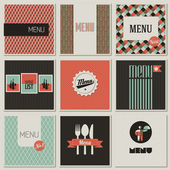 Menu label on a seamless background. Set of retro-styled illustr — Stock Vector