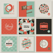 Restaurant menu designs. Collection of retro-styled vector illus — Stock Vector