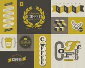 Coffee labels and badges. Collection of vector design elements. — Stock Vector