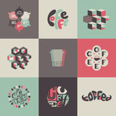 Coffee emblems and labels. Set of posters, design elements — Stock Vector