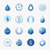 Drops. Vector logo templates set. Design elements — Stock Vector