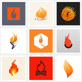 Flame. Set of posters, design elements — Stock Vector