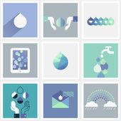 Drops of water. Set of design elements — Stock Vector