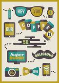 Hipster cafe menu. Set of design elements — Stock Vector