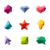 Polygonal geometric figures. Set of design elements — Vecteur