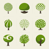 Tree. Collection of design elements. Vector logo templates set — Stock Vector
