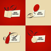 Christmas and New Year greeting. Set of vector cards — Stock Vector