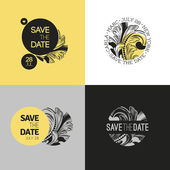 Save the date - wedding vector graphic set in baroque style — Vecteur
