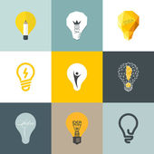 Creative light bulb. Collection of design elements — Stock Vector