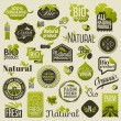 Natural organic product labels, emblems and badges. Set of vector design elements — Stok Vektör