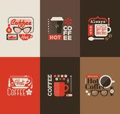 Hot coffee. Set of vector design elements — Stock Vector