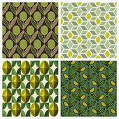 Olive. Set of vector seamless backgrounds — Stockvector
