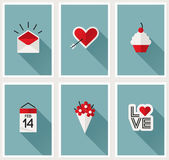 Set of romantic Valentines day symbols. Vector illustration — Stock Vector