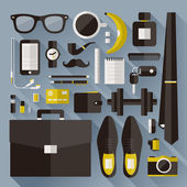 Modern businessman essentials. Flat design elements with long shadow — Stock Vector